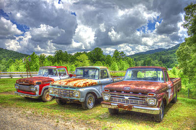 Photograph - Rusty Brothers Ford Trucks 1960 1964 1966 by Reid Callaway