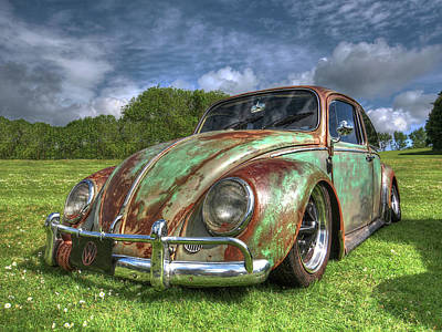 Beetle Car Interior Photograph - Rusty Bug - Vw Beetle by Gill Billington