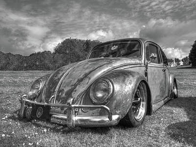 Beetle Car Interior Photograph - Rusty Bug - Vw Beetle In Black And White by Gill Billington
