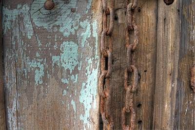 Old Door Photograph - Rusty Chain Barn Wood Teal Turquoise Peeling Paint by Jane Linders