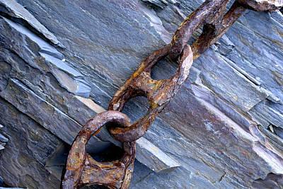 Rusty Chain On The Rocks Art Print by Tom  Wray