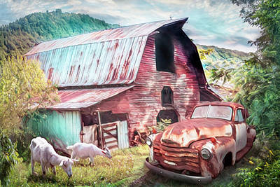Photograph - Rusty Chevy At The Farm Summer Painting by Debra and Dave Vanderlaan