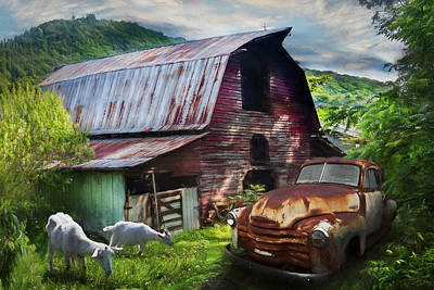 Photograph - Rusty Chevy At The Farm Watercolor Painting by Debra and Dave Vanderlaan