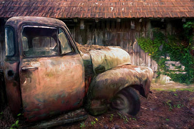 Photograph - Rusty Chevy Pickup Truck At The Barn Oil Painting by Debra and Dave Vanderlaan