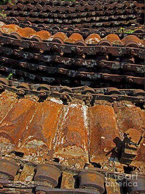 Photograph - Rusty Conveyor Belt-signed-#1345 by J L Woody Wooden