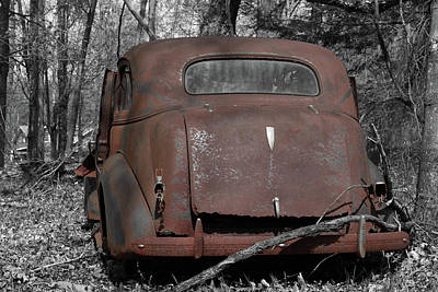 Photograph - Rusty Coupe Rear View by John Stephens