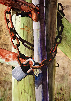 Painting - Rusty Fence Gate by Christopher Reid