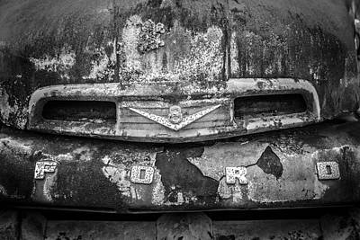 Photograph - Rusty Ford Close Up In The Country Black And White by Debra and Dave Vanderlaan