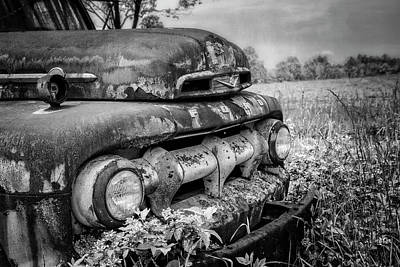 Photograph - Rusty Ford In The Country Black And White by Debra and Dave Vanderlaan