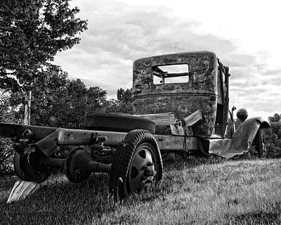 Photograph - Rusty Ford Truck Yard Art Bw by David King