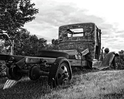 Truck Photograph - Rusty Ford Truck Yard Art Bw by David King