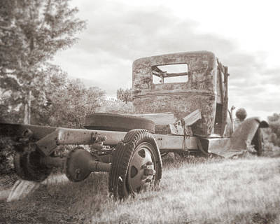 Truck Painting - Rusty Ford Truck Yard Art Sepia by David King
