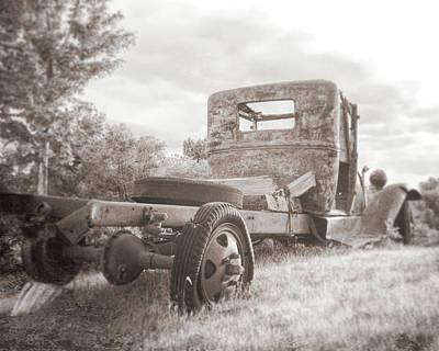 Photograph - Rusty Ford Truck Yard Art Sepia by David King