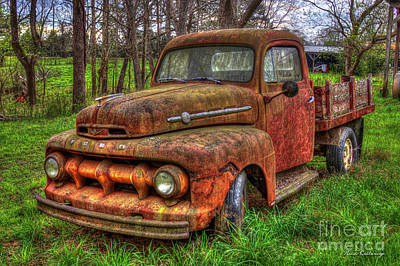 Gold Ford Photograph - Rusty Gold 1951 Ford Flatbed Pickup Truck Art by Reid Callaway