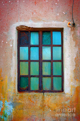 Abstract Glass Art Photograph - Rusty Green Window by Carlos Caetano