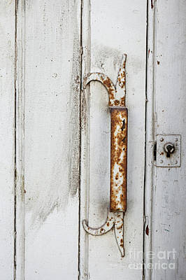 Photograph - Rusty Handle On White Door by Elena Elisseeva