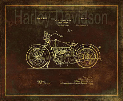 Photograph - Rusty Harley - Davidson Motorcycle Patent Drawing by Maria Angelica Maira