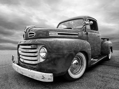 Old Hotrod Photograph - Rusty Jewel In Black And White - 1948 Ford by Gill Billington