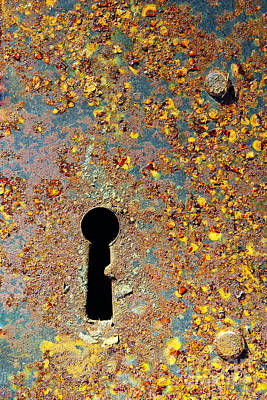 Metal Sheet Photograph - Rusty Key-hole by Carlos Caetano
