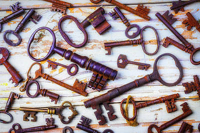 Photograph - Rusty Keys On Old Boards by Garry Gay