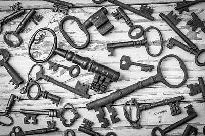 Photograph - Rusty Keys On Old Boards In Black And White by Garry Gay