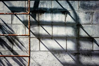 Rusty Ladder On Blue Industrial Art Art Print