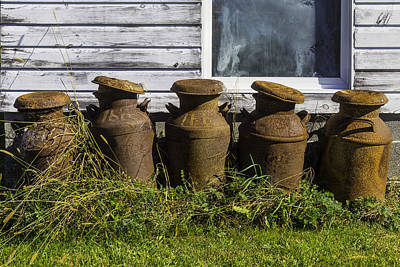 White Barn Photograph - Rusty Milk Cans by Garry Gay