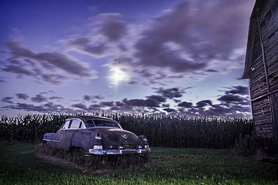 Rusty Old Cadillac In The Moonlight Art Print