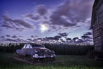 Rusty Old Cadillac In The Moonlight Art Print by Sven Brogren