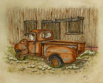 Painting - Rusty Old Ford Pickup Truck by Kelly Mills