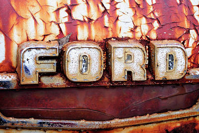 Photograph - Rusty Old Ford Truck Emblem by Luke Moore