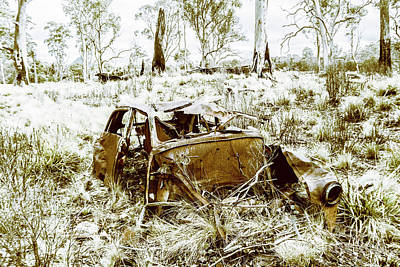 Rusty Old Holden Car Wreck  Art Print