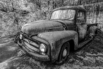 Photograph - Rusty Old International Truck In Black And White by Debra and Dave Vanderlaan