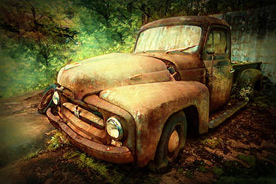 Photograph - Rusty Old International Truck Oil Painting by Debra and Dave Vanderlaan
