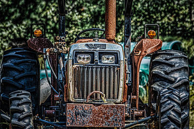Food And Flowers Still Life Rights Managed Images - Rusty Old Tractor Royalty-Free Image by Black Brook Photography
