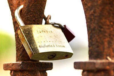 Photograph - Rusty Padlock On A Bridge In Verona With Romeo And Giulietta Names by Vlad Baciu