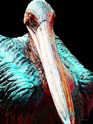 Rusty - Pelican Art Painting By Sharon Cummings Print by Sharon Cummings