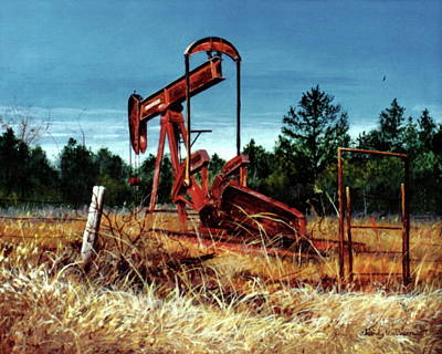 Painting - Rusty Pump Jack by Randy Welborn