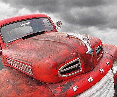Ford Custom V8 Photograph - Rusty Red 48 Ford V8 by Gill Billington