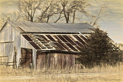 Photograph - Rusty Red Barn Sketch by Anna Louise