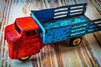 Rusty Red Blue Truck Art Print by Garry Gay