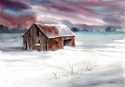 Old Barns Painting - Rusty Roof Winter Barn by Sean Seal
