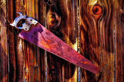 Photograph -  Rusty Saw On Fence by Garry Gay