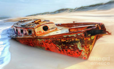 Painting - Rusty Shipwreck On The Outer Banks Of North Carolina Ap by Dan Carmichael