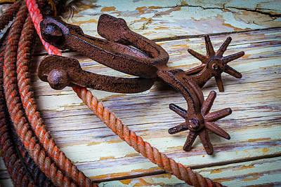 Discipline Wall Art - Photograph - Rusty Spurs And Rope by Garry Gay