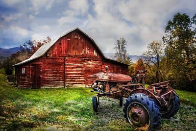 Rusty Tractor Art Print by Debra and Dave Vanderlaan