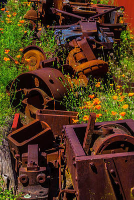 Rusty Train Parts In Poppies Art Print by Garry Gay