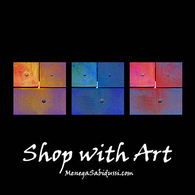 Photograph - Tote - Rusty Triptych Gold Blue Magenta - Shop With Art by Menega Sabidussi