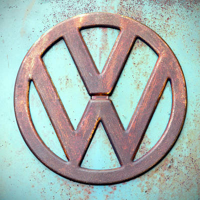 Photograph - Rusty Vintage Volkswagon Bus Emblem by Betty Denise