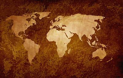 World map wallpaper digital art fine art america world map wallpaper digital art rusty vintage world map by art spectrum gumiabroncs Images